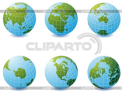 Set von Erde-Globen | Stock Vektorgrafik |ID 3025227