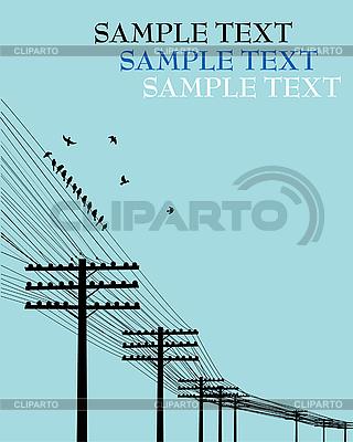 Vögel auf Leitungsdraht | Stock Vektorgrafik |ID 3025229