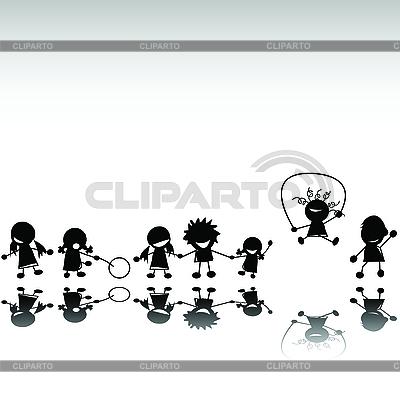 儿童剪影 | 高分辨率插图 |ID 3025312