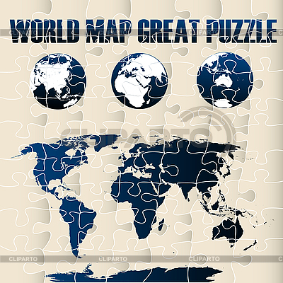 World Map Puzzle  | Stock Vector Graphics |ID 3025493