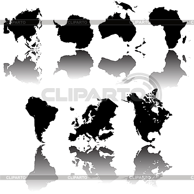 Continent map silhouettes | Stock Vector Graphics |ID 3032144