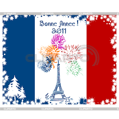 New Year Eiffel tower card | Stock Vector Graphics |ID 3032160