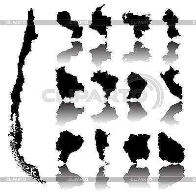 Contour maps of countries in South America | Stock Vector Graphics |ID 3032226
