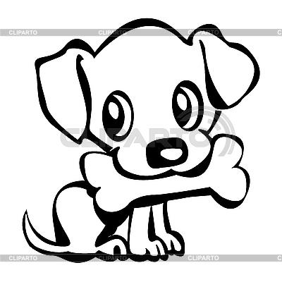 小狗与骨 | 向量插图 |ID 3032266