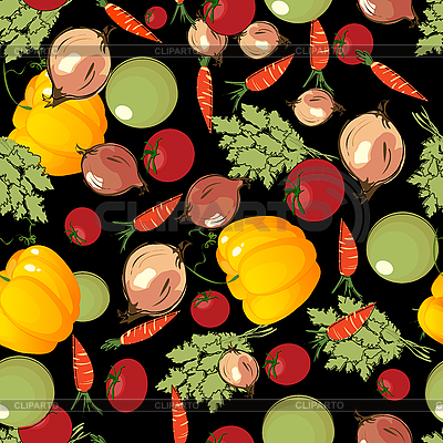 Vegetables pattern on black  | Stock Vector Graphics |ID 3032321
