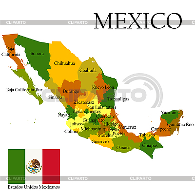 Map of Mexico with flag | Stock Vector Graphics |ID 3038419