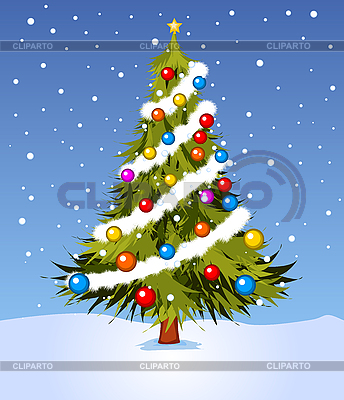Decorated Christmas tree | Stock Vector Graphics |ID 3038999
