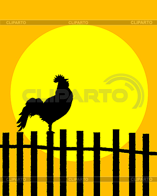 Rooster on the fence | Stock Vector Graphics |ID 3071612