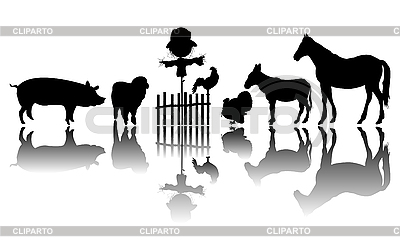 Farm animals silhouettes | Stock Vector Graphics |ID 3075815