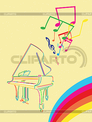 Grand piano with musical notes | Stock Vector Graphics |ID 3089332