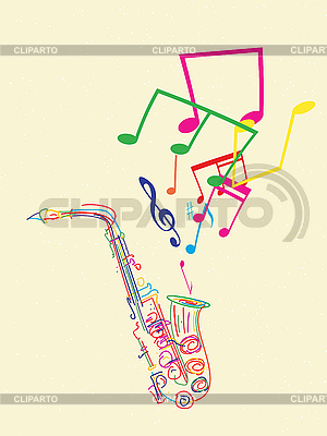 Saxophone with musical notes   Stock Vector Graphics  ID 3089348