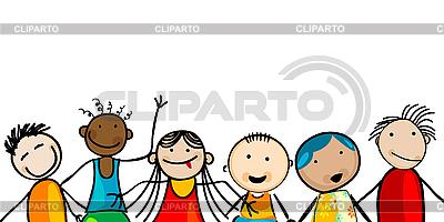 Uśmiechnięte twarze dzieci | Klipart wektorowy |ID 3132513