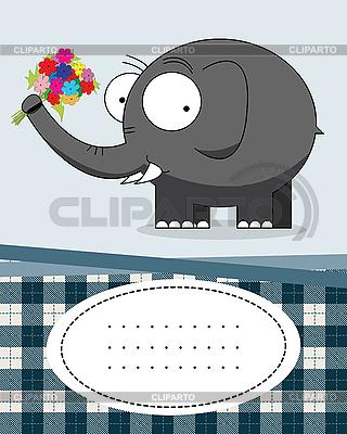 Grußkarte mit Elefant | Stock Vektorgrafik |ID 3132521