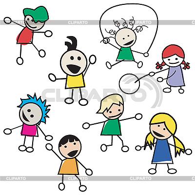 儿童玩剪影 | 向量插图 |ID 3147162