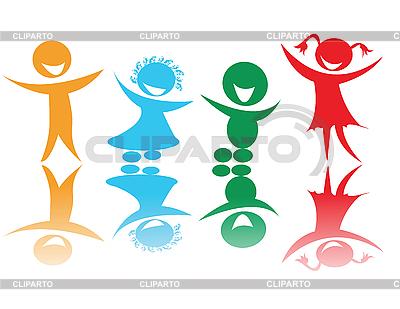 快乐的孩子们用不同的颜色 | 向量插图 |ID 3159919