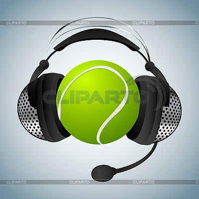 Tennis ball with headphones | Stock Vector Graphics |ID 3173614