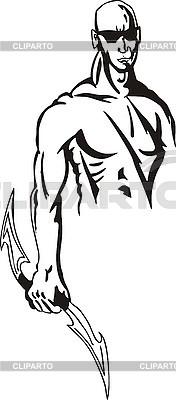 男子用刀片 | 向量插图 |ID 3006363