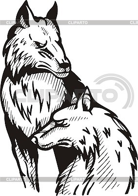 Tattoo two wolves | Stock Vector Graphics |ID 3006419