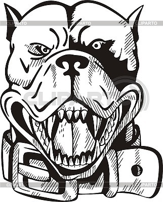Tattoo head of dog with collar | Stock Vector Graphics |ID 3006423