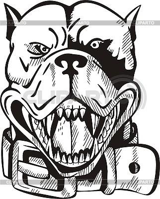 Tatuaż głowa psa z kołnierzem | Klipart wektorowy |ID 3006423