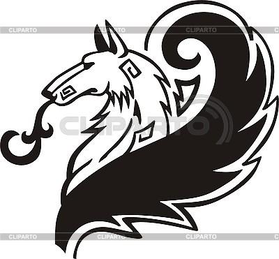 Hund-Tattoo mit langem flauschigem Schwanz | Stock Vektorgrafik |ID 3006447