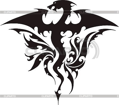 Dragon tattoo with flame | Stock Vector Graphics |ID 3006779