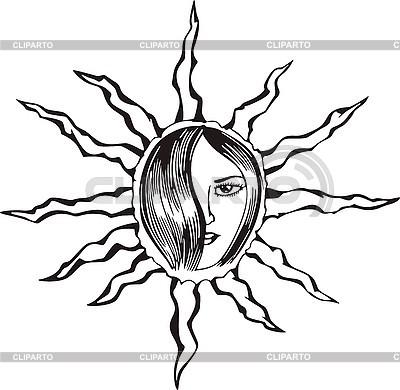 Kobieta, słońce | Klipart wektorowy |ID 3006835