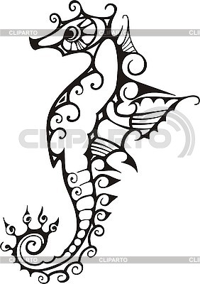 Black and white sea horse | Stock Vector Graphics |ID 3010375