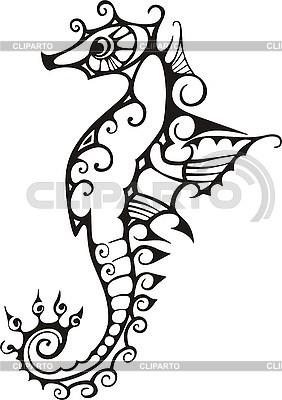 Czarny i biały koń morze | Klipart wektorowy |ID 3010375