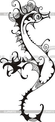 Black and white sea horse | Stock Vector Graphics |ID 3010387
