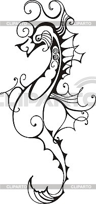 Black and white sea horse   Stock Vector Graphics  ID 3010399