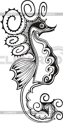 Black and white sea horse | Stock Vector Graphics |ID 3010403