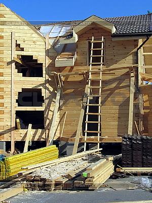 Bau eines Holz-Haus | Foto mit hoher Auflösung |ID 3012103