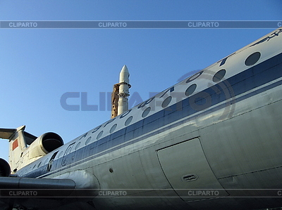 Plane and space rocket | High resolution stock photo |ID 3012214