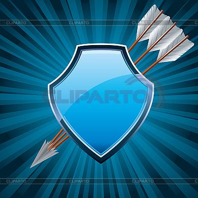 Щит безопасности с тремя стрелами | Векторный клипарт |ID 3010871
