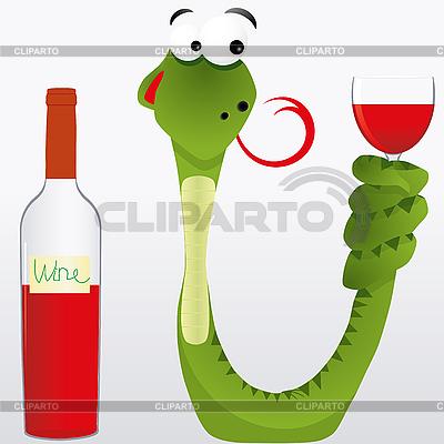 Schlange mit Wein | Stock Vektorgrafik |ID 3011176