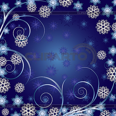 Blue christmas background with curls and snowflakes | Stock Vector Graphics |ID 3011279