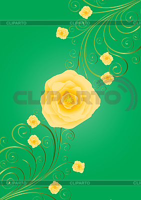 Green card with golden rose | Stock Vector Graphics |ID 3011283