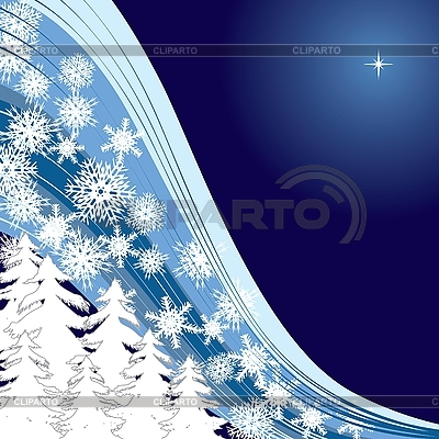 Blue Christmas card mit firtrees and snowflakes | Stock Vector Graphics |ID 3011347