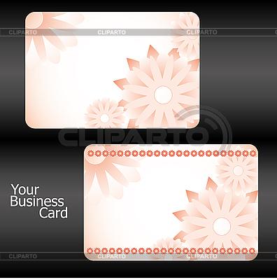 Pomarańczowy szablony wizytówka mit kwiaty | Klipart wektorowy |ID 3011373