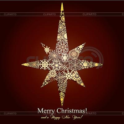 Christmas star tworzą złote płatki śniegu | Klipart wektorowy |ID 3011426