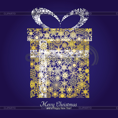 Blue Christmas card with golden gift box | Stock Vector Graphics |ID 3011428