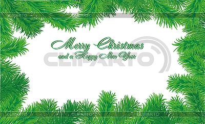 Christmas card frame with fir branches   Klipart wektorowy  ID 3011442