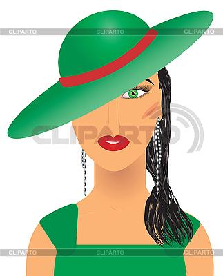 Dama w kapeluszu zielonym | Klipart wektorowy |ID 3011529