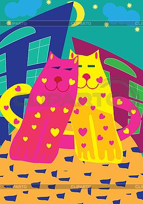 Kotów w miłości | Klipart wektorowy |ID 3011645