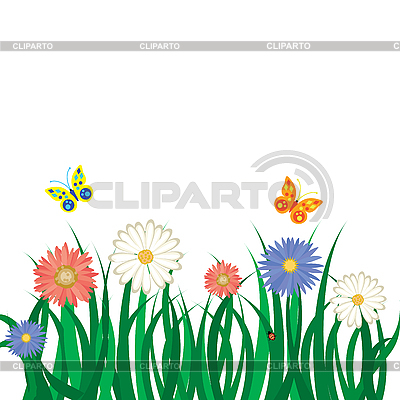 Flowers, grass and butterflies | Stock Vector Graphics |ID 3011731