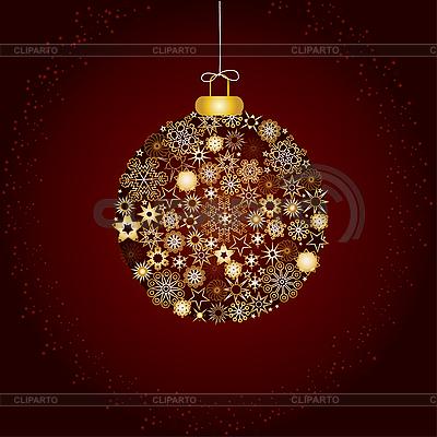 圣诞装饰品和金雪花 | 向量插图 |ID 3011780