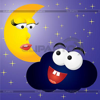 Mond und Wolke | Stock Vektorgrafik |ID 3016267