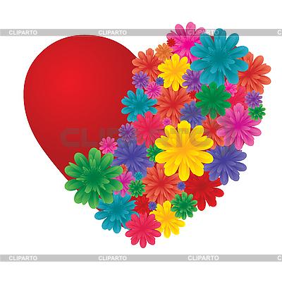 Valentinstagkarte mit Blumenherz | Stock Vektorgrafik |ID 3016433