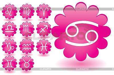 粉红色的花朵,十二生肖图标 | 向量插图 |ID 3016457